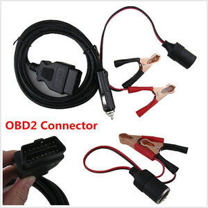 Obd2 Connector Car Ecu Memory Saver With Extended Cable Battery Alligator Clip