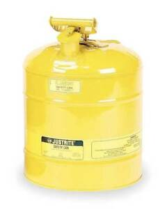 5 Gal Yellow Galvanized Steel Type I Safety Can For Diesel Justrite 7150200