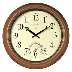 18 Analog Thermometer Wall Clock Brown 105736