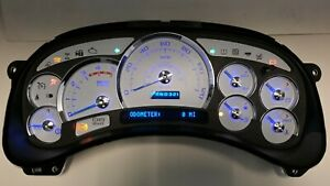 5t 05 2005 Chevy Duramax Diesel Escalade Platinum White Gauge Blue Led Cluster