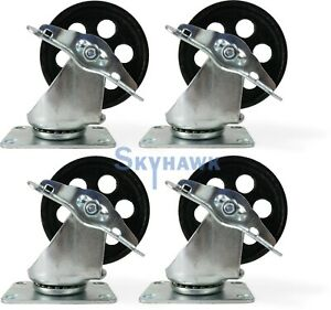 4 pc 3 1 2 350lb Capacity All steel Wide Locking Wheel Swivel Top Plate Casters