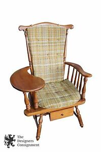 Heywood Wakefield 1960 S Maple Teacher S Arm Chair W Writing Desk Windsor Back