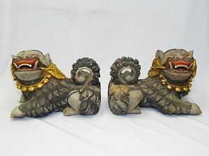 Pair Antique Late 19 C Qing Chinese Deeply Carved Polychrome Wood Foo Dog 19