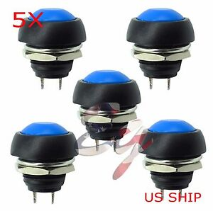 Blue 5 Pcs M4 12mm Waterproof Momentary On off Push Button Round Spst Switch