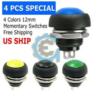 4x Color M4 12mm Waterproof Momentary On off Push Button Round Spst Switch