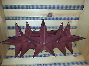 Lot Of 6 Primitive 8 Burgundy Barn Stars Decorate Crafting Country Metal