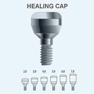 50x Dental Titanium Healing Caps Standard And Wide For Implant System 180