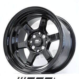 Mst Mt 01 15x8 4x100 114 3 Aggressive Fit 0 Offset 6 Spokes Black Tuner 4 Wheels