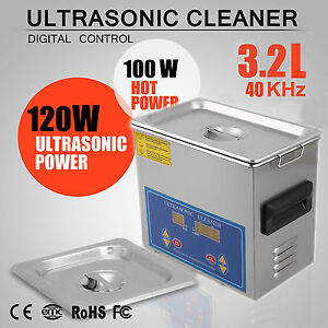 Stainless Steel 3 2l Liter Industry Heated Ultrasonic Cleaner Heater W timer Vip