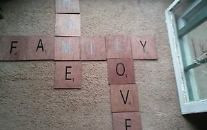 Large Scrabble Tiles Wall Art Wooden Sign Primitive Home Love Family Handmade