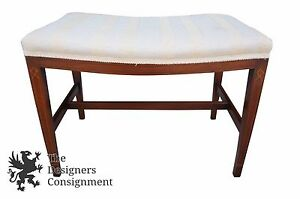 Sheraton Style Walnut Vanity Bench Stool Fruitwood Inlaid White Upholstery Piano