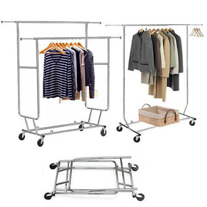 Chrome Heavy Duty Stainless Clothing Garment Rolling Collapsible Rack Hanger Us