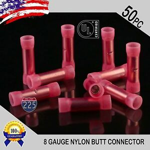 50 Pack 8 Gauge Wire Butt Connectors Red Nylon 8 Awg Crimp Cable Terminals Usa