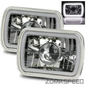 7x6 H6054 Semi Sealed Chrome Hi Power White Smd 3d Halo Projector Headlights Kit
