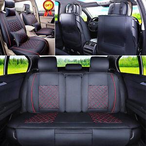 Auto Car Seat Cover Cushion 5 Seats Front Rear Pu Leather W Pillows Size M Us