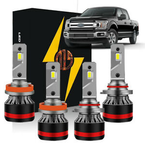 4x White Led High Low Beam Headlight Bulbs dust Cover For 2015 2016 2017 F150
