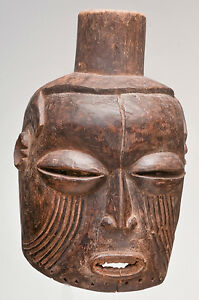 African Congo Kuba Or Chokwe Antique Old Large Tribal Used Helmet Mask