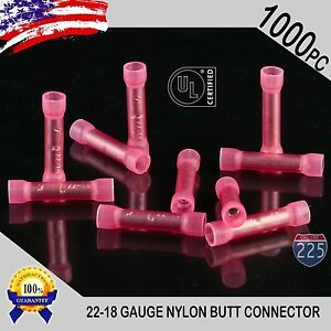 1000 Pack 22 18 Gauge Awg Wire Butt Connector Red Nylon Crimp Insulated Terminal