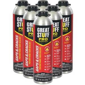 Dow Great Stuff Pro Gaps And Cracks 30 Oz Gun Foam 6 Cans 1 2 Case