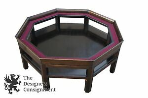 Vtg 1947 Baker Octagonal Glass Coffee Cocktail Table Mahogany Mid Century Modern