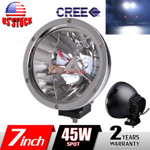 7 45w Cree Silver Led Work Light Round Spot Fog Driving Head Lamp Offroad 4wd