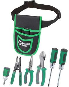 Electrician Tool Belt Pouch Starter 7 set Plier Screwdriver Wire Stripper Cutter