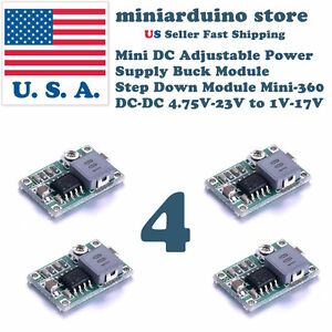 4pcs Mini 360 Buck Converter Step Down Adjustable Power Supply Module Dc dc 1 17