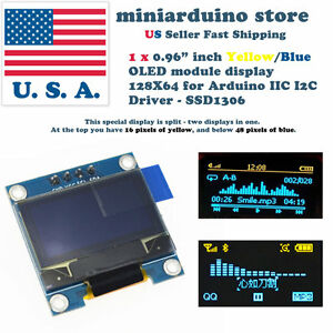 0 96 I2c Iic 128x64 Led Oled Lcd Display Arduino Yellow Blue Color Ssd1306 Us