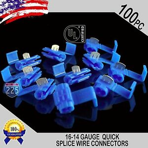 100 Pack 16 14 Gauge Blue Quick Splice Tap Wire Connectors Install Terminals Ul