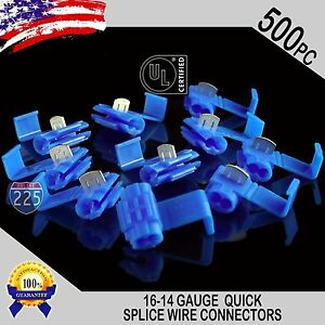 500 Pack 16 14 Gauge Blue Quick Splice Tap Wire Connectors Install Terminals Ul