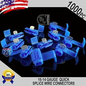 1000 Pack 16 14 Gauge Blue Quick Splice Tap Wire Connectors Install Terminals Ul