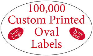 100 000 Printed Labels Custom Oval 3 4 X 1 1 4 Business Stickers 1 color Rolls