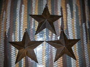 3 Rusty 5 5 Primitive Metal Barn Star Stars Ornaments 5 1 2 Rustic New