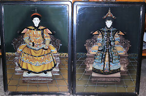 Chinese Pair Of Reverse Glass Paintings Emperor Empress Circa 1920s
