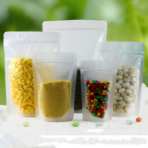 Matte Clear Food Grade Packaging Plastic Pouch Bags Zip Lock Resealable Frosted