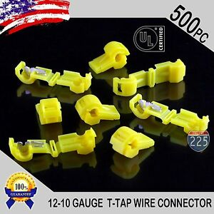 500 Pack T taps Yellow 12 10 Awg Gauge Quick Slide Connectors Car Audio Alarm Ul