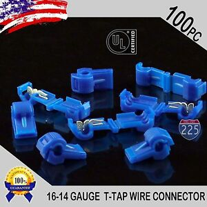 100 Pack T taps Blue 16 14 Awg Gauge Quick Slide Connectors Car Audio Alarm Ul