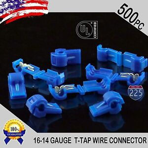 500 Pack T taps Blue 16 14 Awg Gauge Quick Slide Connectors Car Audio Alarm Ul