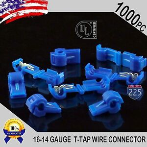 1000 Pack T taps Blue 16 14 Awg Gauge Quick Slide Connectors Car Audio Alarm Ul