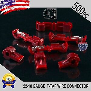 500 Pack T taps Red 22 18 Awg Gauge Quick Slide Connectors Car Audio Alarm Ul