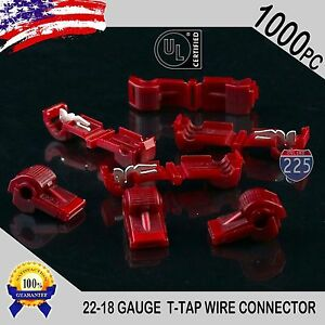 1000 Pack T taps Red 22 18 Awg Gauge Quick Slide Connectors Car Audio Alarm Ul