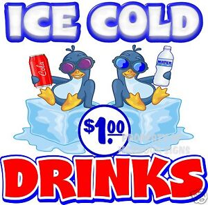Ice Cold Drinks 1 Price Decal 24 Concession Restaurant Food Truck Sticker