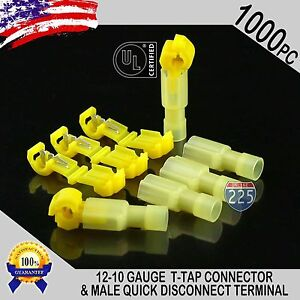 1000 T taps Male Disconnect Wire Connectors Yellow 12 10 Gauge Terminals Ul