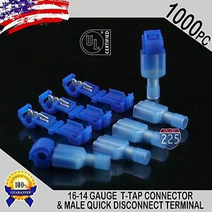 1000 T taps Male Disconnect Wire Connectors Blue 16 14 Gauge Terminals Ul