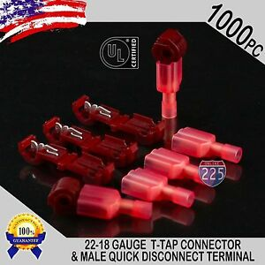 1000 T taps Male Disconnect Wire Connectors Red 22 18 Awg Gauge Terminals Ul