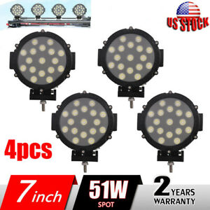 4x 7inch 51w Round Led Work Light Pods Spot Off Road Roof Bar Bumper Marine Atv