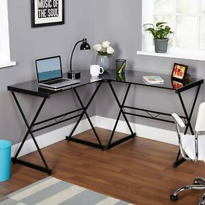 Corner Computer Desk Metal And Glass L Shaped Nook Office Work Table Simple