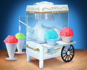 Vintage Electric Countertop Snow Cone Maker Shaved Ice Crusher Storage Cart