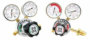 Harris Model 25gx Single Stage Oxygen Acetylene Regulator Pair