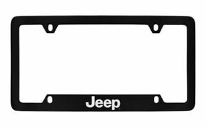 Jeep Logo Black Metal License Plate Frame Holder